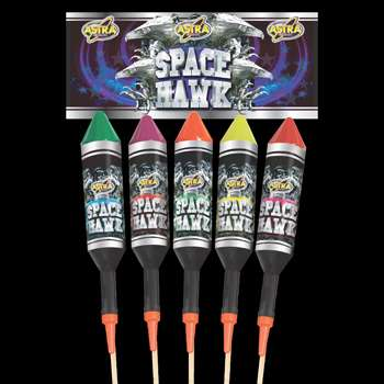 SPACE HAWK 5 PACK 1.3G ROCKETS These 1.3G Rockets offer breath taking effects that will prove to be the Star of any Bonfire party. ***PROMOTION*** YOU CAN BUY 2 PACK OF SPACE HAWKS IN STORE FOR JUST £27.00. This great value for money pack of Rockets has an SRP of £34.99 but we at Cheaper2buyonline can offer this very same item for just £15.00 per pack of 5 rockets or just £27.00 for 2 packs of 5 rockets.